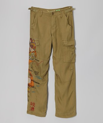 Olive Green Silk Herr Pants - Girls