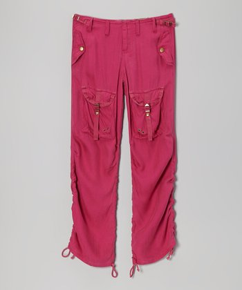 Magenta Silk Herr Pants - Girls