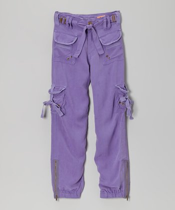 Violet Rivet Silk Cargo Pants - Girls