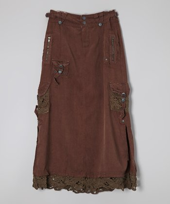 Chestnut Lace Silk-Blend Cargo Skirt - Girls
