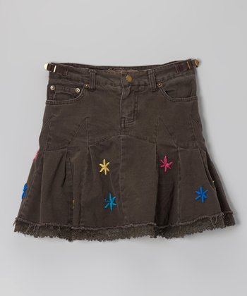 Charcoal Brown Daisy Lace Skirt	 - Girls