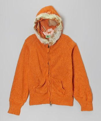 Orange Faux Fur Wool-Blend Zip-Up Hoodie - Girls