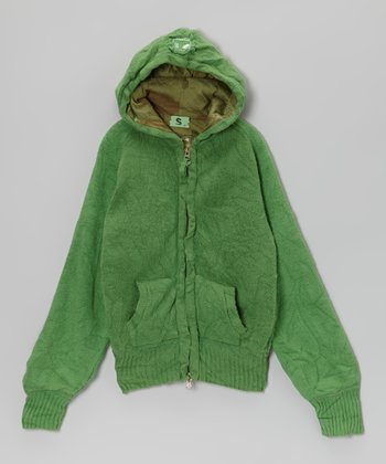 Green Wool-Blend Zip-Up Hoodie - Girls