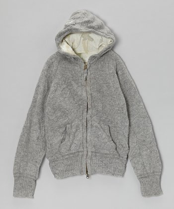 Gray Mélange Wool-Blend Zip-Up Hoodie - Girls