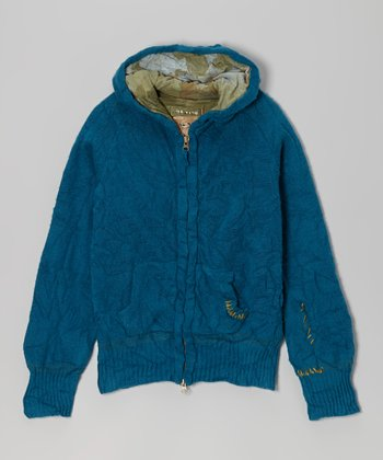 Blue Wool-Blend Zip-Up Hoodie - Girls