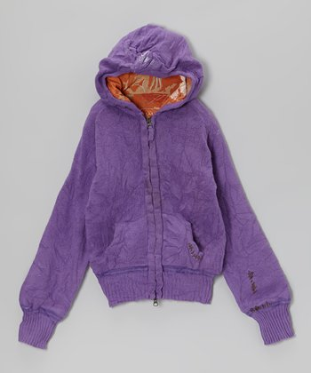 Purple Wool-Blend Zip-Up Hoodie - Girls