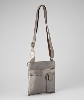Silver Small Tablet Crossbody Bag