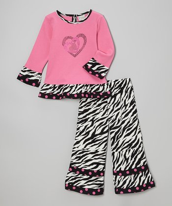 Pink Zebra Crazy Hearts Top & Ruffle Pants - Toddler & Girls