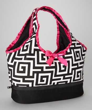 Black & Pink Geometric Doll Carrier