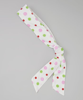 Green & Pink Polka Dot Head Scarf