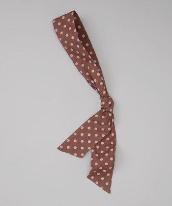 Pink & Brown Polka Dot Head Scarf