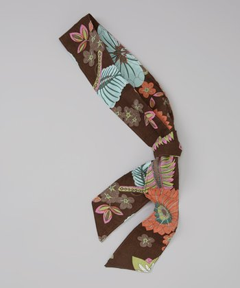 Brown & Blue Lush Floral Head Scarf