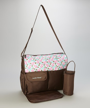 Brown Flower Swirl Large Diaper Bag & Changing Pad