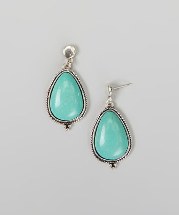Silver & Turquoise Oval Stone Drop Earrings
