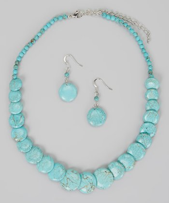 Turquoise Disc Necklace & Earrings