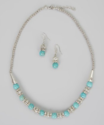 Silver & Turquoise Necklace & Earrings