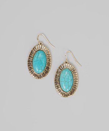 Gold & Turquoise Oval Drop Earrings