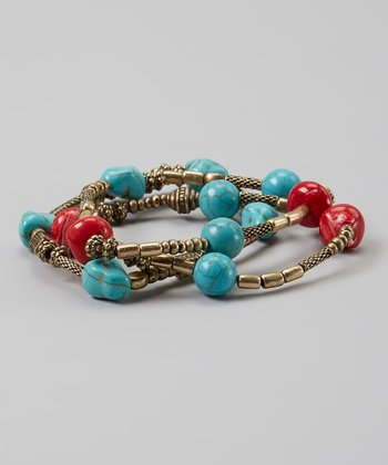 Gold & Turquoise Beaded Stretch Bracelet
