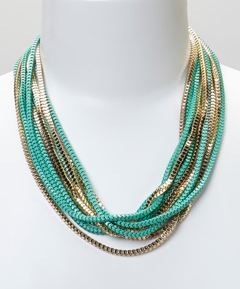 Turquoise & Gold Rope Necklace