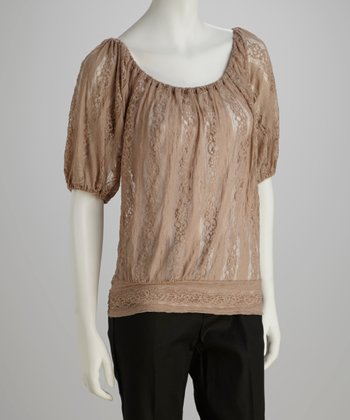 Cappuccino Lace Peasant Top