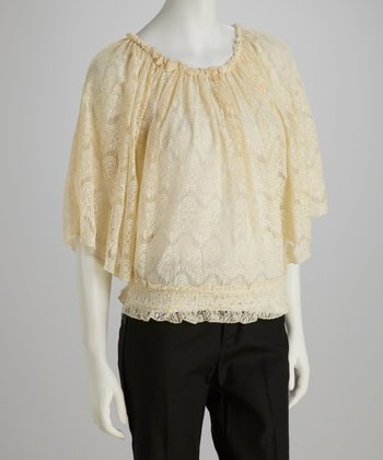 Vanilla Lace Angel-Sleeve Top