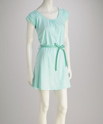 Aqua Jersey Lace-Back Belted Dress