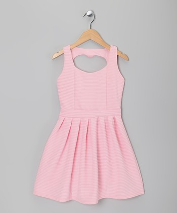Soft Pink Heart Cutout Dress