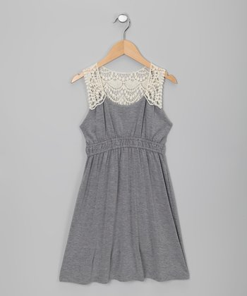 Heather Gray Crochet Dress