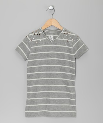 Gray & White Stripe Nail Head Tee