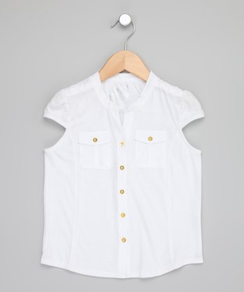 White Cap-Sleeve Button-Up