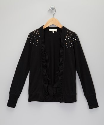 Black Ruffle Open Cardigan