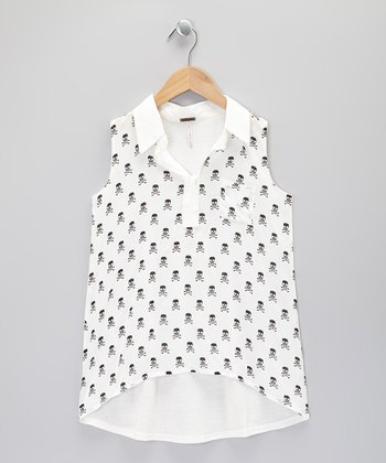 Egg White Skull Sleeveless Top