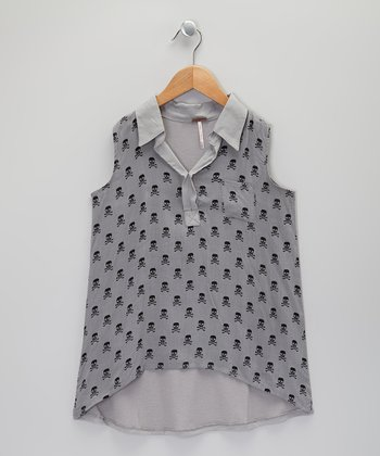 Gray Skull Hi-Low Top