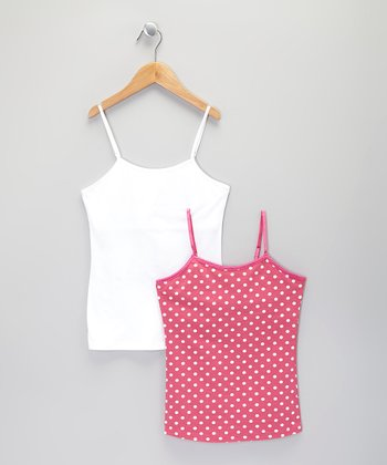 Bubble Pink Polka Dot & White Camisole Set