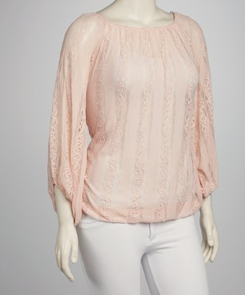 Peach Lace Peasant Top - Plus
