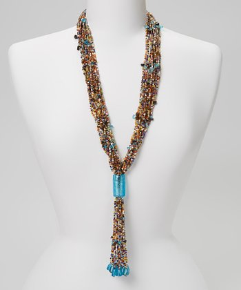 Aqua Beaded Tassel Necklace