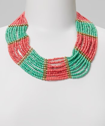 Pink & Turquoise Beaded Bib Necklace