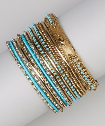 Aqua & Gold Bangle Set