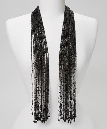Black Beaded Scarf Necklace