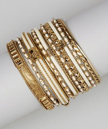 Ivory & Gold Embellished Bangle Set