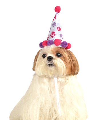 Pink & Purple Paw Print Birthday Pet Hat
