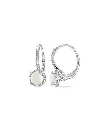 Opal & Diamond Framed Circle Huggie Earrings