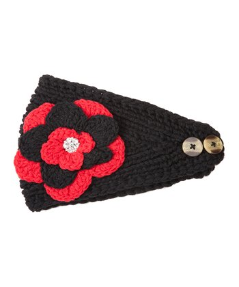 Black & Red Flower Head Wrap