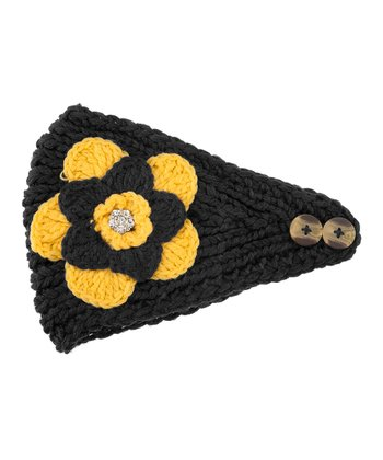 Black & Yellow Flower Head Wrap