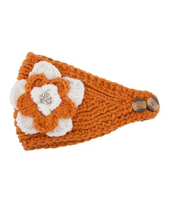 Burnt Orange & White Flower Head Wrap