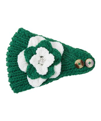 Green & White Flower Head Wrap
