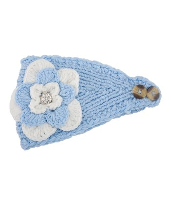 Light Blue & White Flower Head Wrap