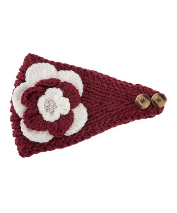 Maroon & White Flower Head Wrap