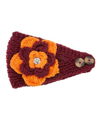Maroon & Orange Flower Head Wrap
