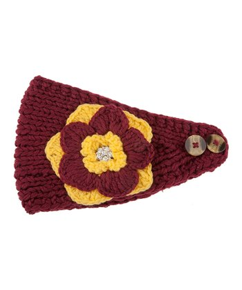 Maroon & Yellow Flower Head Wrap